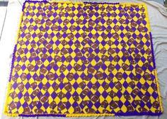 Purple and Gold Football Print Crochet Edge by AngieHallHaviland, $45.00