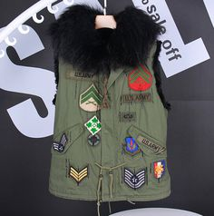 The Stars Gianna artifical Raccoon Fur Collar Rabbit Vest Army Green Jacket Liner women Sleeveless women vest-in Vests & Waistcoats from Women's Clothing & Accessories on Aliexpress.com | Alibaba Group
