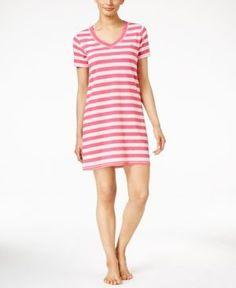 Tommy Hilfiger Striped Sleepshirt - Magenta Stripe XS