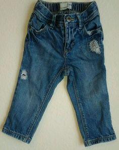 Old Navy Baby Girl Distressed Denim Ajustable Elastic Waist Jeans   18-24 Mos. #OldNavy #Jeans #Everyday