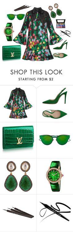 """GREEN"" by grettelcabrera on Polyvore featuring moda, Gucci, Deimille, Christian Dior, Carousel Jewels y Bulgari"