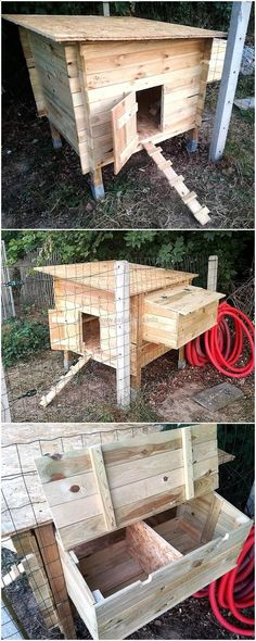 Chicken Coop - reused wooden pallets chickens coop Building a chicken coop does not have to be tricky nor does it have to set you back a ton of scratch.