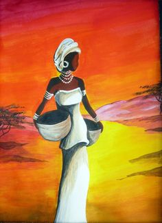 Acrylic paints – acrylic painting of african girl. Peintures acryliques – peinture acrylique sur EnPerdreSonLapin african girl Acrylic paints – acrylic painting of african girl. African Art Paintings, African Artwork, African Prints, Easy Paintings, African Fabric, African Girl, African American Art, South African Art, African Style