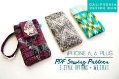 Downloadable PDF Sewing Pattern Only. Not a finished iphone case.>>  I'm super excited to have completed the new iPhone 6 and iPhone 6 Plus sewing pattern. Being a long time Apple fan, I wanted to update my previous pattern. It's super easy to make a fabric phone case, so it's a perfect beginner project. This digital DIY sewing pattern has templates to fit: *iPhone 6 *iPhone 6 Plus *iPhone 5/5c/5s *iPod Touch 5th Generation.   3 TEMPLATE CASE SYLES INCLUDED: • Sleeve: protects screen from…
