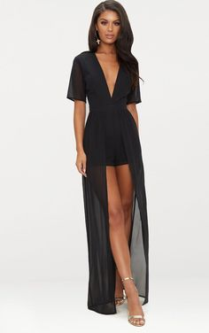 Black Maxi Overlay Romper - Black Source by - Black Romper Outfit, Black Playsuit, Maxi Playsuit, Formal Playsuit, Rompers Dressy, Style Noir, Romper With Skirt, Denim And Lace, Black Maxi