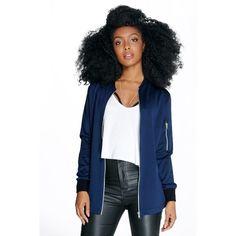 Boohoo Night Petite Layla Longline Scuba Bomber Jacket ($35) ❤ liked on Polyvore featuring outerwear, jackets, navy, navy blue jacket, navy jacket, duster coat, puff jacket and petite jackets