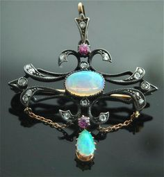 Antique Opal Brooch - Yellow Gold, Ruby, Diamond, Opal Brooch