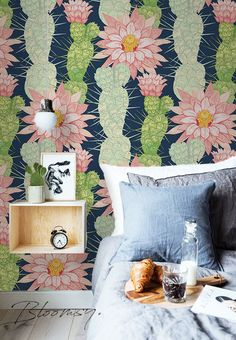 Hello!  We are glad to present you our nature inspired wallpapers. Our whole collection is a combination of earthy colors, blooming flowers and tropical vibes. For more designs visit - https://www.etsy.com/shop/BloomsyWallpapers  Pattern name: Cacti Flowers Pattern repeat: 34 inches