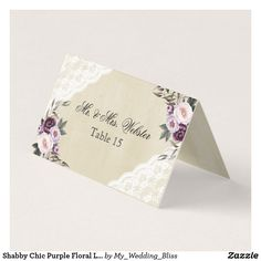 Vintage lace roses old paper wedding thank you card thank you shabby chic purple floral lace wedding place card diy cyo customize create your own personalize solutioingenieria Images