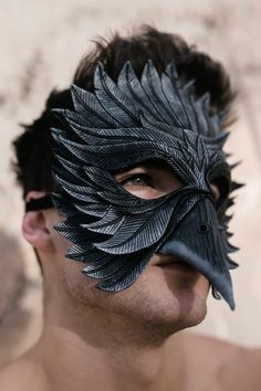 Black Raven Handmade Genuine Leather Mask for Masquerades