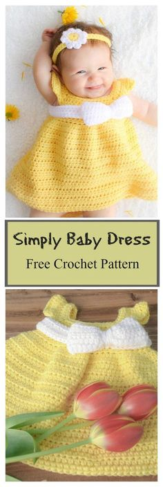 Simply Spring Baby Dress Free Crochet Pattern Every little girl needs a cute spring dress. The Spring Baby Dress Free Crochet Pattern is designed to make the little girl in you life look adorable. Poncho Au Crochet, Pull Crochet, Love Crochet, Crochet For Kids, Knit Crochet, Simple Crochet, Crochet Tutu, Crochet Socks, Crochet Summer