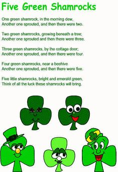 Five green shamrocks felt board rhyme with free printable templates. St Patricks Day Songs, St Patricks Day Crafts For Kids, St Patrick's Day Crafts, Flannel Board Stories, Felt Board Stories, Felt Stories, Circle Time Activities, Holiday Activities, Work Activities