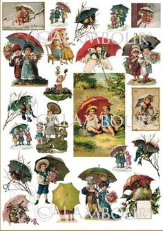 CAL 276 - Calambour Paper for classic Decoupage. Pattern : children with umbrella, small dogs under the umbrella, small pigs under the umbrella, small birds under the umbrella, small rabbits with Victorian umbrellas. Details: measures 50 x 70 cm, printing on 80 gr/mq paper sheet