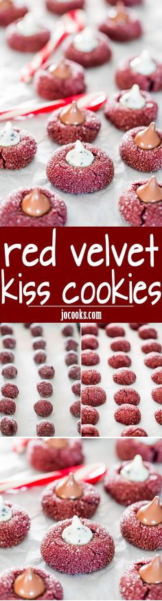 Red Velvet Kiss Cookies - chewy and delicious red velvet cookies topped with a Hershey's Kiss! A favorite Christmas cookies!