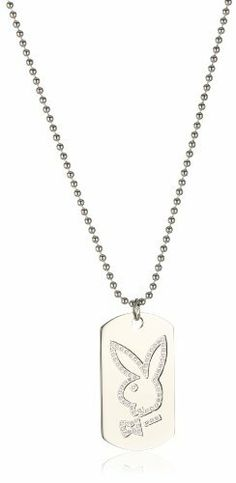 """Playboy Dog Tag with Cubic Zirconia Bunny Head Silver-Tone Pendant Necklace , 22"""" Playboy. $100.39. Made in China"""