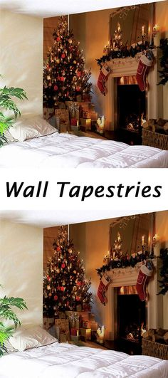 Christmas decor ideas for the home:Fireplace Print Wall Tapestry