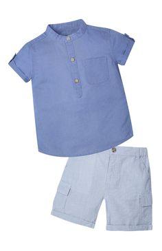 2 Pack Chambray Shirt And Short Set Boys Shirt And Pant, Baby Boy Shirts, Boys Shirts, Baby Boy Outfits, Kids Outfits, Boys Kurta Design, Smocked Baby Dresses, Moda Kids, Kids Clothes Boys