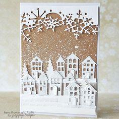 handmade winter card ... die cut houses and snowflake border ... kraft base splattered with white for snowfall ... luv it ... poppystamps ...