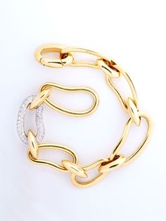 Pomellato 18KT Yellow Gold and Diamond Bean Bracelet at London Jewelers!