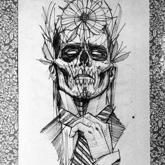 This tattoo features extremely high cheekbones that suggest this may be the face of a North American Indian. The empty eye sockets are surrounded by the appearance of a mask. A feathered head frame is topped with a large full petal circular flower. His hand holds the knotted neck tie and the whole image is overlaid with lines at different angles. #tattoofriday #tattoos #tattooart #tattoodesign #tattooidea