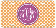 Personalized Monogrammed Polka Dots Purple Orange License Plate Custom Car L076