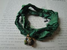Silk Sari Wrap Charm Bracelet Green by heysaturdaysun on Etsy