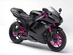 Kawasaki black + pink ~ I once had a Honda VTR I always wanted a Ninja! Motos Kawasaki, Kawasaki Ninja Zx6r, Kawasaki Motorcycles, Triumph Motorcycles, Pink Motorcycle, Motorcycle Gear, Motorcycle License, Suzuki Gs 500e, Moto Design