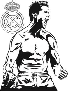 C Ronaldo Real Madrid Coloring and Drawing Page Epic Drawings, Dark Art Drawings, Pencil Art Drawings, Basketball Art, Football Art, Messi Drawing, Eminem Drawing, Wall Stickers Unique, Disney Character Drawings