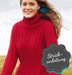 Rebecca - Strickanleitung Roter Pullover mit Strukturmuster https://www.fuersie-shop.de/stricken-haekeln/stricken/strickanleitungen/rebecca-strickanleitung-roter-pullover-mit-strukturmuster.html