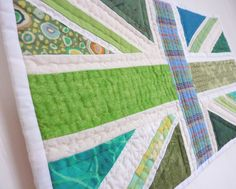 Patchwork Union Jack Flag - Green Britain No 19 - textile wall hanging.