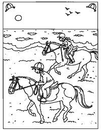 In galop langs het strand Horse Coloring Pages, Coloring Books, Summer Art Projects, Projects To Try, Horse Camp, Horse Crafts, Easy Drawings, Decoupage, Pony
