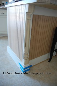 Kitchen Makeover pre-primed MDF bead board panels half-newel posts (for detailing banisters on stairways) a piece of primed MDF as a baseboard Interior, Home, Kitchen Decor, Home Kitchens, Home Diy, Diy Kitchen, Kitchen Renovation, Kitchen Island Makeover, Kitchen Design
