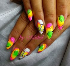 99 Cute and Colorful Tropical Nails Art Ideas Suitable for Vacations - Aksahin Jewelry Neon Nail Art, Neon Nail Polish, Funky Nail Art, Funky Nails, Neon Nails, Nail Polishes, Ongles Funky, Nail Art Designs, Tropical Nail Art