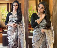 Stylish Blouse Designs To Go With Soft Silk Sarees! Indian Dresses, Indian Outfits, Saree Jewellery, Fashion Jewellery, Kerala Saree Blouse Designs, Saree Hairstyles, Indian Hairstyles For Saree, Reception Sarees, Wedding Reception