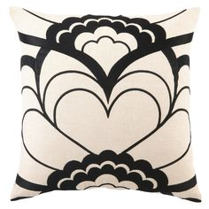 Trina turk deco floral black embroidered pillow