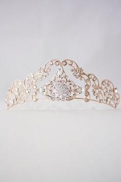 Rose Gold Tiara Crystal Wedding Tiara Filigree Bridal Crown Art Deco Diadem Swarovski Bridal Tiara  SONNET TIARA