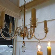 Vijf armige Venetiaanse kroonluchter met glazen kaarsen voor vijf kleine fittingen