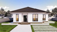 Simple Bungalow House Designs, Modern Exterior House Designs, Simple House, Interior And Exterior, One Floor House Plans, Small House Plans, Home Room Design, House Rooms, Home Fashion