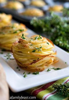 Potato Stacks - Super simple to make, these delicious potato stacks are the perfect, elegant side dish to any meal!Asiago Potato Stacks - Super simple to make, these delicious potato stacks are the perfect, elegant side dish to any meal! Potato Dishes, Potato Recipes, Vegetable Recipes, Food Dishes, Vegetarian Recipes, Cooking Recipes, Potato Snacks, Potato Appetizers, Cooking Dishes