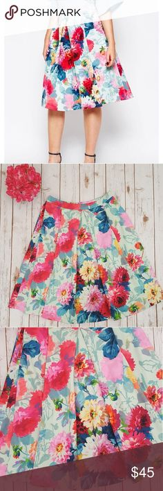 NWT ASOS floral full midi skirt * I am reposhing this beautiful skirt due to the fact I am 5'3 and the skirt is way too long for me. If ypu are taller than I am you will love this. * It is 16 inches flat  * vivid floral print Asos Skirts Midi