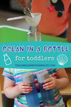 Put together an ocean activity in a discovery bottle! Invite your children to make their own bottles with sand, water, shells, and sea creatures. Lots of fun for your beach and ocean theme. #ocean #beach #discoverybottle #sensorybottle #summer #toddler #preschool #age2 #age3 #teaching2and3yearolds Ocean Activities, Preschool Learning Activities, Preschool Activities, Toddler Class, Toddler Preschool, Summer School Themes, Discovery Bottles, Time Planner, Sensory Bottles