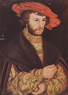 1521 Lucas Cranach the Elder - Portrait of a Young Man with a Beard and Red Hat