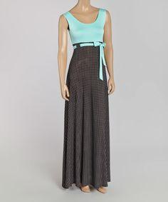 Another great find on #zulily! Mint & Black Pin Dot Tie-Waist Maxi Dress #zulilyfinds