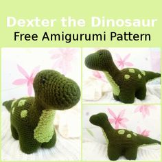 Crochet Toys Patterns Dexter the Dinosaur - Free Amigurumi Pattern - Photos above © The Magic LoopThis crochet pattern / tutorial is available for free. Full post: Dexter the Dinosaur Crochet Dinosaur Pattern Free, Crochet Amigurumi Free Patterns, Crochet Dolls, Free Crochet, Crochet Dragon, Crochet Unicorn, Dexter, Stuffed Toys Patterns, Crochet Crafts