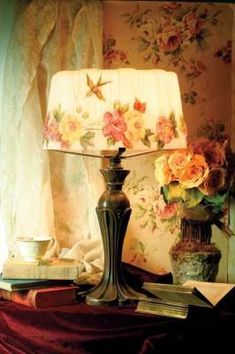 Hatbox Puffy Lamp. Reverse painted florals on frosted glass.