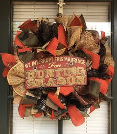 "18"" Hunting Faux Burlap Wreath - Camo and orange hunting season"
