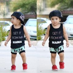 Set T-shirt Vest Tops + Casual Dot Pants Stylish Baby, Trendy Baby, Baby Outfits Newborn, Baby Boy Outfits, Little Gentleman, Romper Suit, Mom Son, T Shirt Vest, Casual Tops