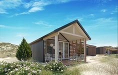 Sea Lodges in Bloemendaal Prefab Cottages, Prefab Cabins, Camping Glamping, Vacation Places, Beach Cottages, Beach Houses, Little Houses, Bed And Breakfast, Gardens