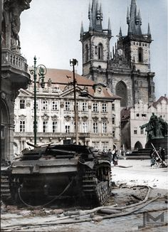 Destroyed Stug III in Prague, during Prague uprising in may Old town square, pin by Paolo Marzioli Prague Spring, Prague Photos, Prague Czech Republic, Old Town Square, World War Two, Historical Photos, Old Photos, Wwii, Around The Worlds