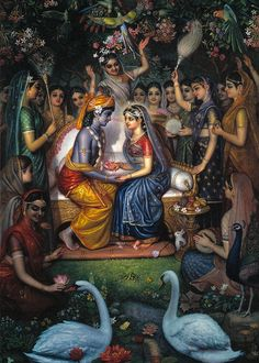 Hindu Art: Radha Krishna being served by the Gopis. Radha Krishna Pictures, Lord Krishna Images, Radha Krishna Photo, Krishna Photos, Krishna Art, Radha Radha, Krishna Songs, Hare Krishna, Krishna Lila